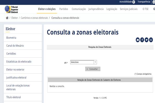 Consulta a zonas eleitorais no TSE